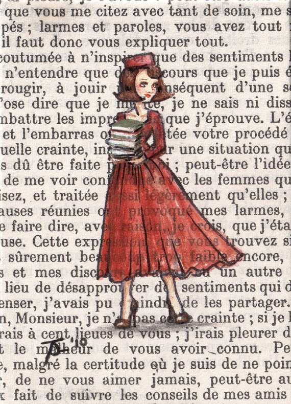 Open Edition ACEO Print - Paris, 1962 - Armfulls of Books
