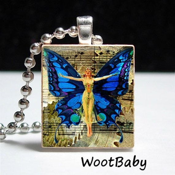 Clocks & Butterflies No.33 Scrabble Tile Pendant Buy 2 Get 1 Free