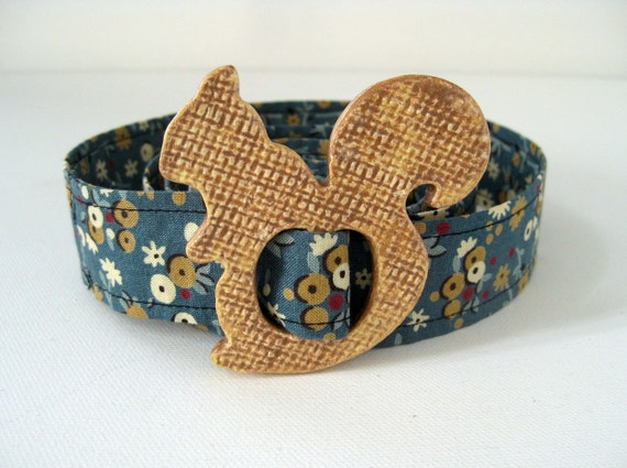 Ceramic Squirrel Buckle with Vintage Reproduction Fabric Belt