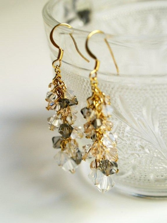 Gray and Gold Waterfall Earrings