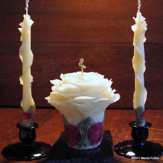 Свеча единства Set - Чистый пчелиный воск & Roses - Уникальные розы Свечи для свадьбы, подарки, праздники, Home Decor по исполнителю Марси Лесная