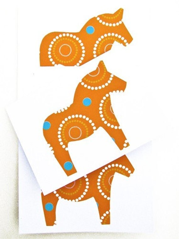 Dala Horse Greeting Cards Swedish Scandinavian -  Orange Pop Art Dala. Handmade by studioLISE.