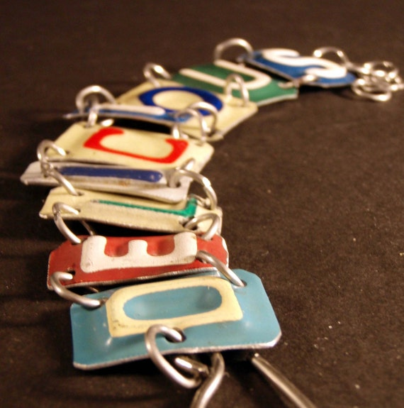 Delicious Pieced License Plate Bracelet
