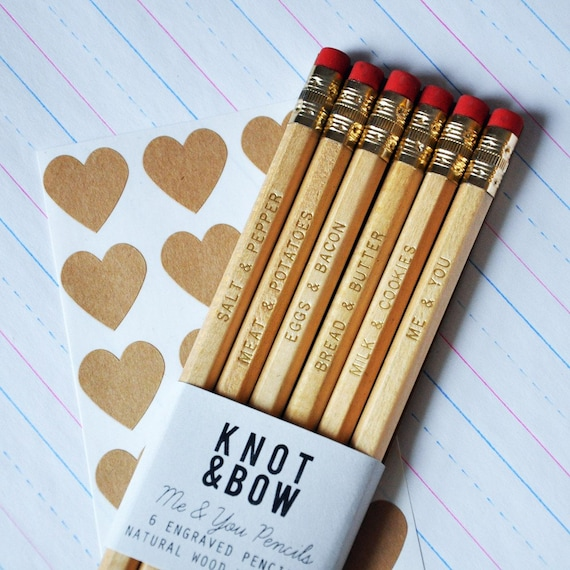 Me & You Pencils - Gold Engraved Natural Wood