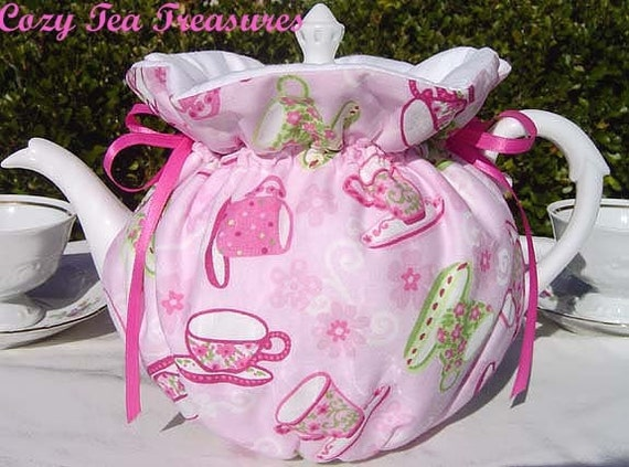 FLORAL TEA CUPS Reversible, Insulated 6-8 Cup Teapot Tea Pot Tea Cozy Cosy Also Available in 1-2 Cup and 2-4 Cup Sizes, Upon Request