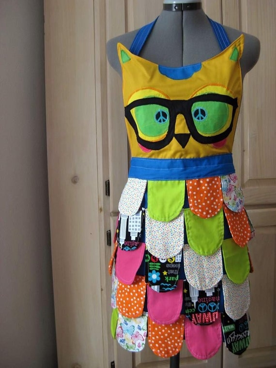NErDY // NEON BLUE Rainbow Owl Apron// Neon Kitchen Accessory