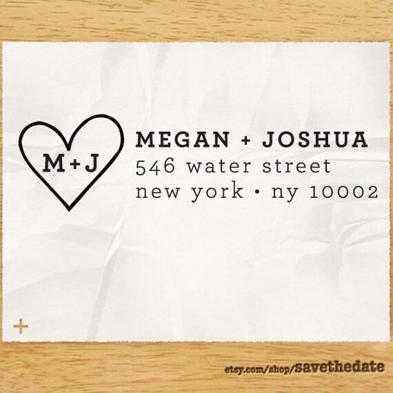 "CUSTOM ADDRESS STAMP - Eco Friendly & self inking, gifts for wedding, housewarming, etsy labels, return address stamp ""Heart 1"""