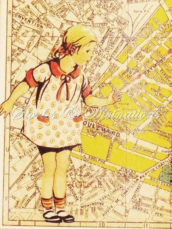Children in Paris - 4 Assorted Collage Cards made with Vintage Maps of Paris