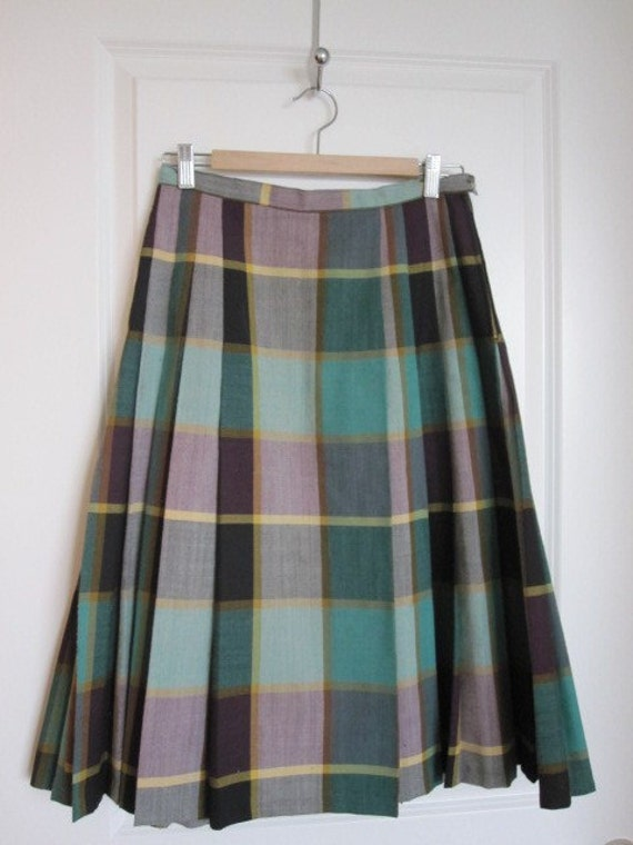 CLEARANCE: Pleated Teal - Vintage Pleated Tartan Skirt