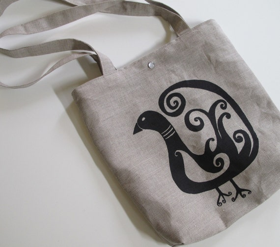 Natural Linen Purse with Black Bird