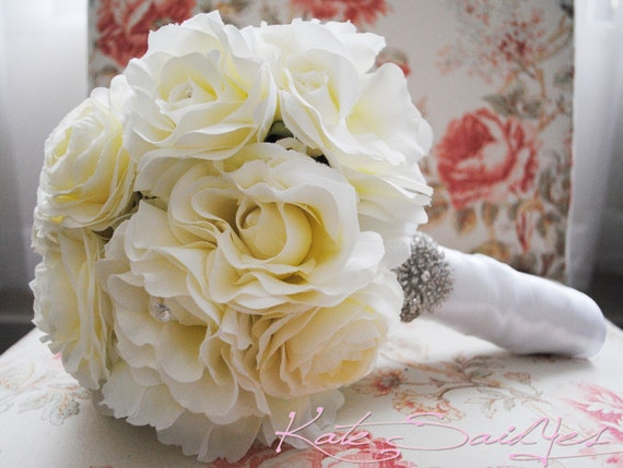 Silk Bridal Bouquet Ivory Rose Peony and Ranunculus Wedding Bouquet with