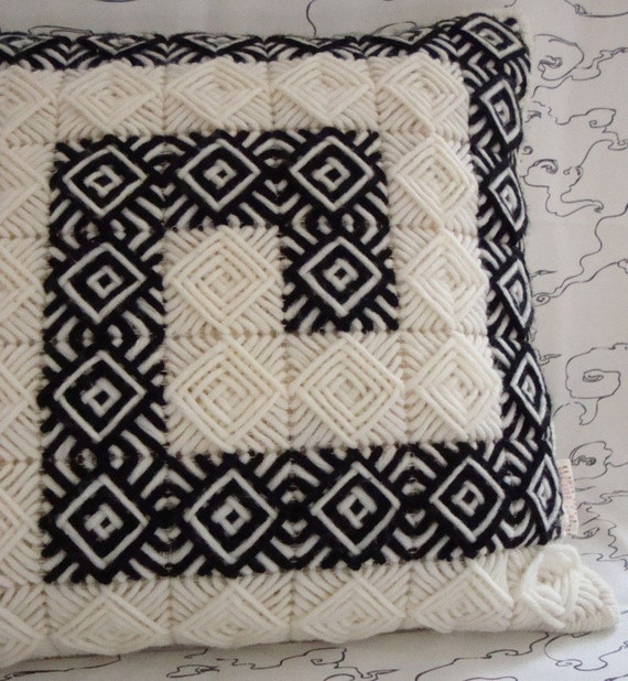 Needlepoint Handmade Pillow Cover with Black and Creme / Ecru Squares in Classic Ancient Greek Key Pattern / Shop Early for Christmas