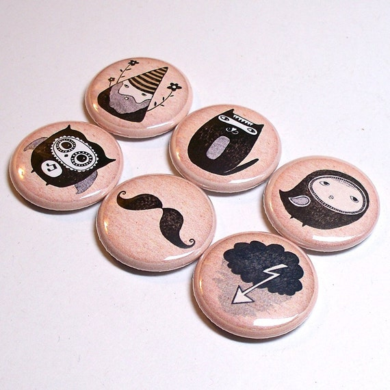 Choose 6 Strange Garden  1 inch pinback buttons