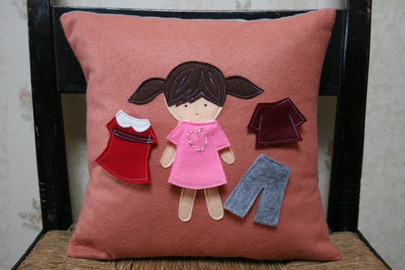 Paper Doll Pillow Cover