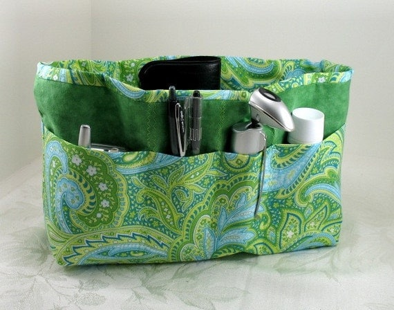 Purse Organizer Insert -Shades of Green Paisley Extra Large- Check out my shop for other sizes and fabrics