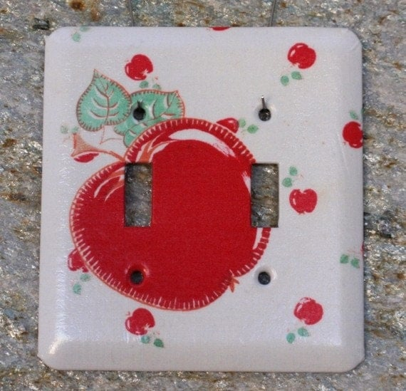 Apple - Vintage Fabric -  Light Switch Plate - Double Toggle