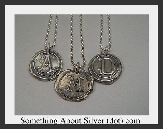 Vintage Wax Seal Monogram Pendant in Fine Silver