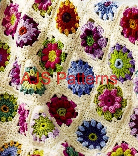 Granny Square-Rose pattern - Crochet Me