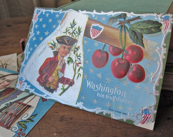 "Antique postcard, George Washington's birthday, E. Nash, ""His Truthfulness,"" vintage 1909, red cherries, hatchet, metallic silver"