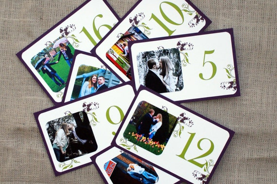 Personalized Photo Table Cards - Custom Colors Available