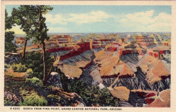Vintage Arizona Postcard - North from Pima Point, Grand Canyon National Park (Unused)