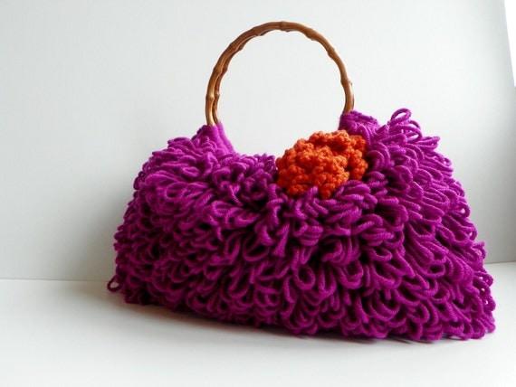 NzLbags ручной работы - Сумка - Everyday Сумка - вязание крючком сумки Shaggy Nr Фуксия - 0126