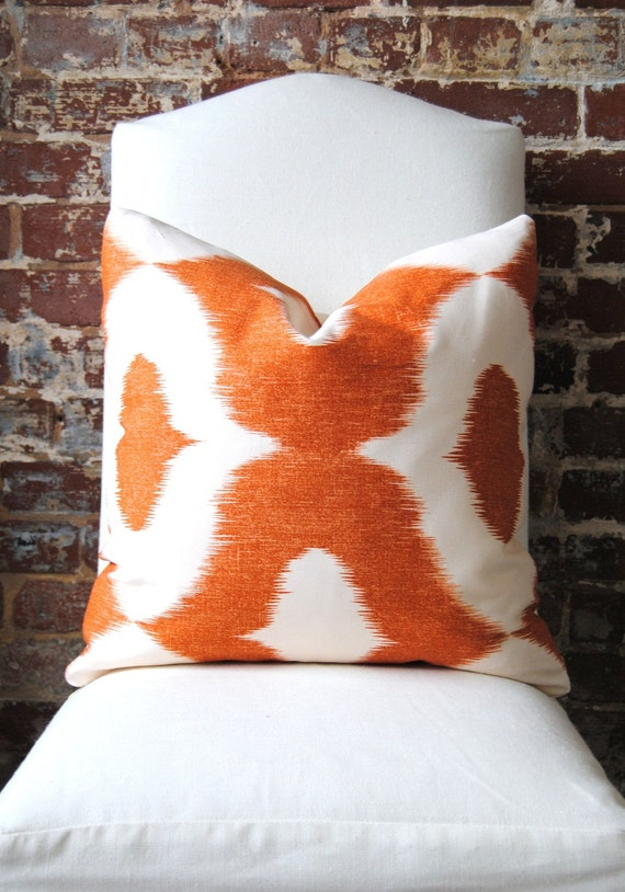 "Decorator Fabric - Ikat print in Orange - Dalesford by Duralee - 20""x20"""