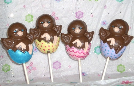 10 Chocolate Easter Chicks and Eggs Lollipops