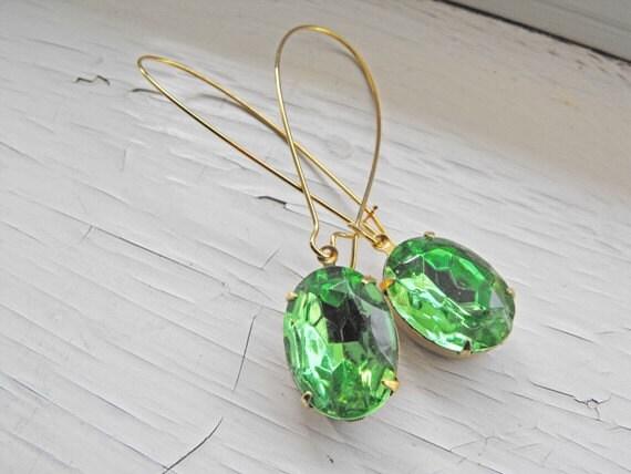 Peridot Earrings, Peridot Green Earrings - Vintage Jewels - Estate Style