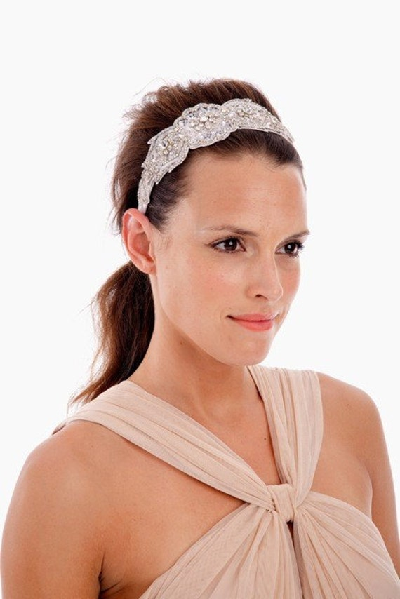 092 - Lux Hand-Beaded Applique Headband