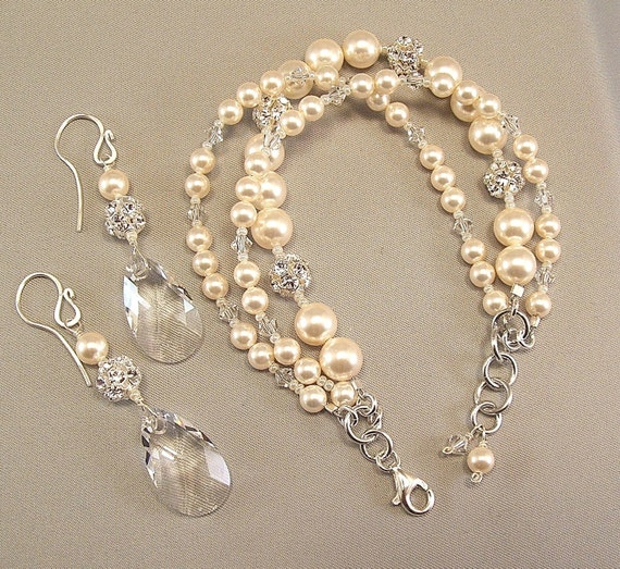 Ivory Pearls and Crystal Bracelet and Earring Set by Handwired from etsy.com