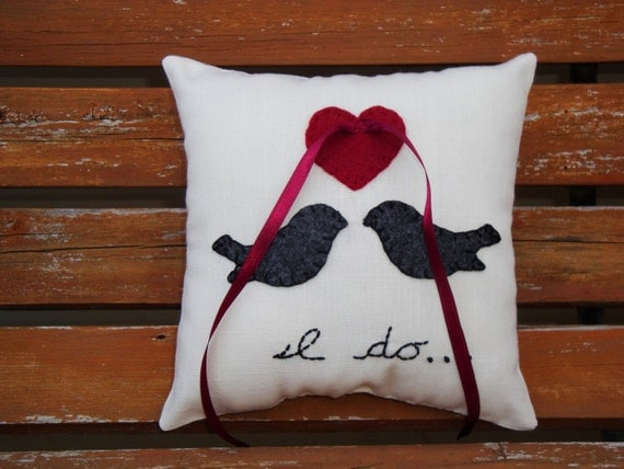 Love Birds I Do ring bearer pillow- burgundy and charcoal by Petite25