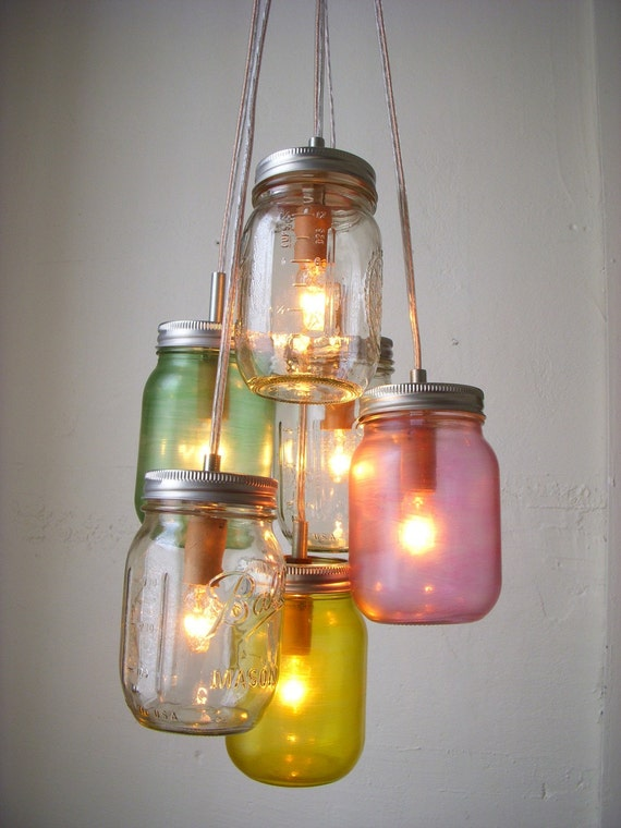 Pretty Pastels Mason Jar Chandelier Swag Light Hanging Lighting Fixture - UpCycled Rustic Eco Friendly Wedding - BootsNGus Lamp Design