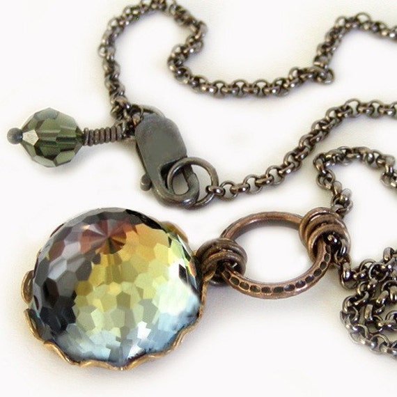 Rare Vintage Swarovski Crystal and Brass Pendant Necklace