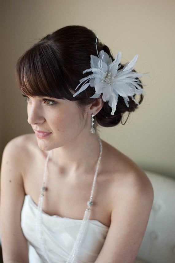Bridal Feather Hairpin with Swarovski Crystal - VIOLET