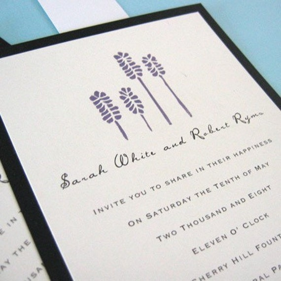 Lavender wedding invitation for summer wedding screen print purple