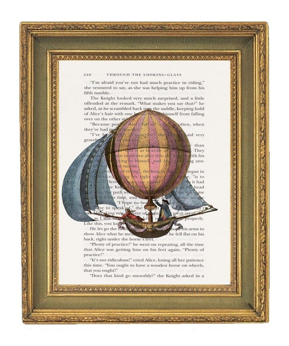 Hot Air Balloon- Print on Book Page-  6x9