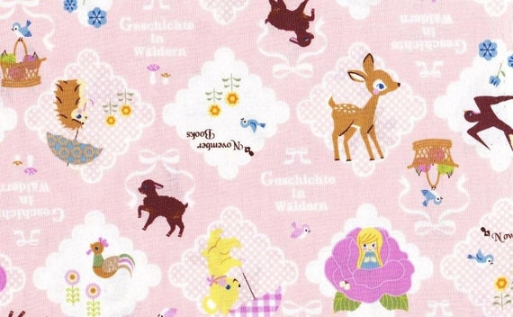 Thumbelina Japanese cotton fabric Pink color half yard