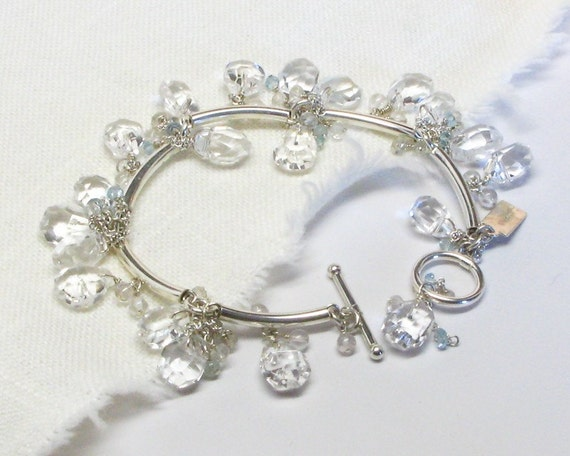 Crystal, Quartz and Sterling Silver Bracelet, AC0347