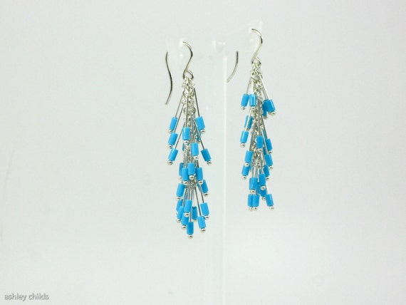 Delicate Sterling Silver Turquoise Dangle Earrings, AC6573