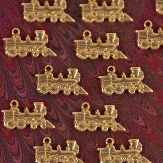 TRANSPORTATION- 12 Tiny Brass Train Charms