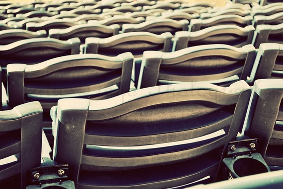 Take Me Out to the Ballgame - 16x20 Fine Art Sports Photography Print - Baseball or Football Stadium Chairs Await Fans on Game Day