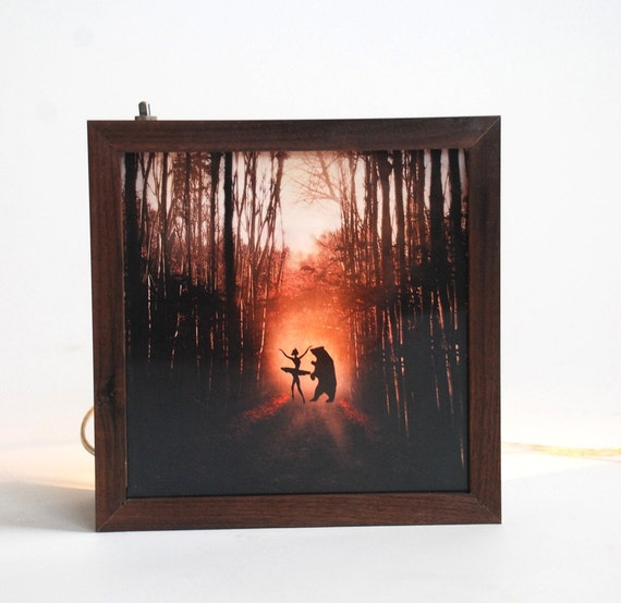 Pleasant dreams bear and ballerina light box(Made to order)