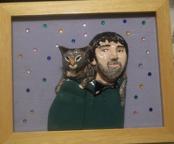 One of a Kind Custom made 3 D Portrait of Ryan and Penelope the cat