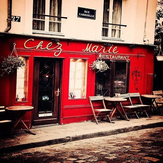 Paris Photography, French Decor, Wall Art, Paris Decor-   Home Decor- Cafe Decor- Kitchen Art- Crimson- Charcoal Grey- 8x8 Chez Marie