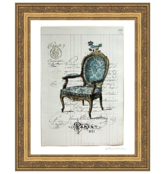 FRENCH CHAIR Blue - LARGE Art Print - Antique Vintage Ledger Book Page 150 Years Old.  Large 15 inches by 10.25 inches. The Decorated House