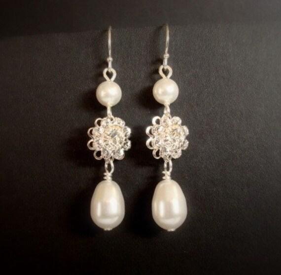 Bridal earrings Swarovski crystal earrings pearl drop earrings wedding