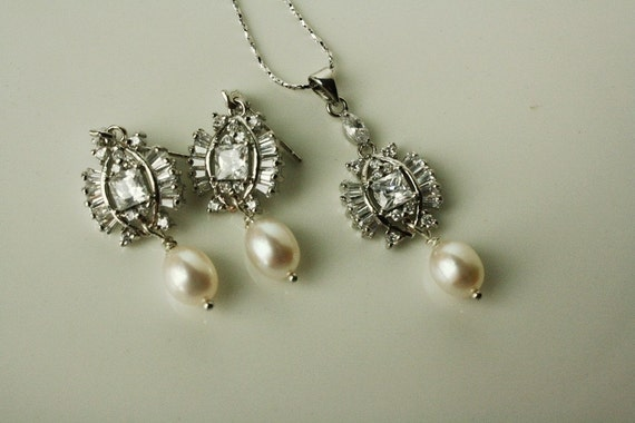Bridal Jewelry, Bridal Necklace, Freshwater Pearl Jewelry Set, Wedding Jewelry