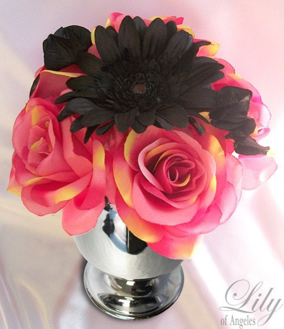 6 Cup Centerpiece Wedding Decoration FUCHSIA BLACK FEATHER Lily Of Angeles