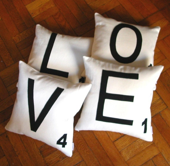 Any 4 Canvas Scrabble Letter Pillow COVERS, Letter Cushion COVERS, Felt Pillows - LOVE Pillow Covers or  any 4 letters